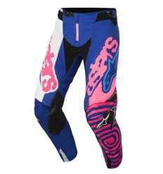 Pantalón Motocross Alpinestars Techstar Venom Pants Azul Rosa Fluor Blanco