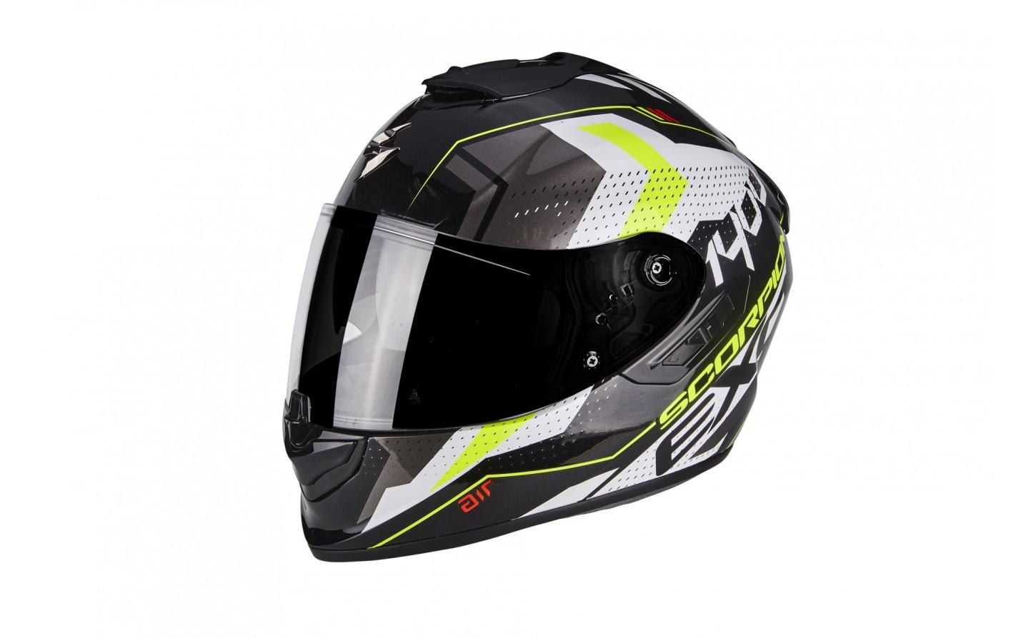 Scorpion exo-1400 air Trika MOTOCICLETA casco blanco-negro-amarillo flúor talla s