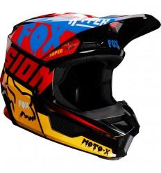 Casco Motocross Fox V1 Czar Helmet Negro Amarillo |21778-019|