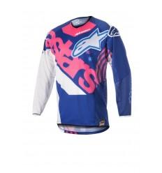 Camiseta Motocross Alpinestars Techstar Venom Jersey Azul Rosa Fluor Blanco |376