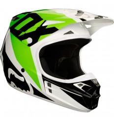 Casco Motocross Fox V1 Race Helmet, Ece Blanco Negro Verde |19532-129|