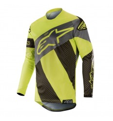 Camiseta Motocross Alpinestars Racer Tech Atomic Jersey Negro Amarillo Fluor Gri