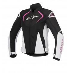 Chaqueta Moto Alpinestars Ventilada Mujer Stella T-Jaws V2 Negro Blanco Fucsia