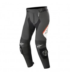 Pantalones Alpinestars Missile V2 Leather Pants Negro Blanco Rojo Fluor|3120519-