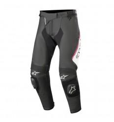 Pantalones Alpinestars Mujer Stella Missile V2 Leather Pants Negro Blanco Fucsia