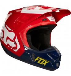 Casco Motocross Fox V2 Preme Helmet, Ece Azul Marino Rojo |19528-248|