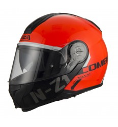 Casco Nzi Combi2 Duo Graphics Flydeck Naranja Brillante Shell/Mate Chin Bar