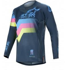 Camiseta Alpinestars Techstar Venom Navy Aqua Pink Fluo |3760020-7639|