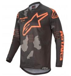 Camiseta Alpinestars Racer Tactical Negro Gray Camo Naranja Fluo |3761220-1144|
