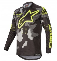 Camiseta Alpinestars Racer Tactical Negro Gray Camo Amarillo Fluo |3761220-1154|