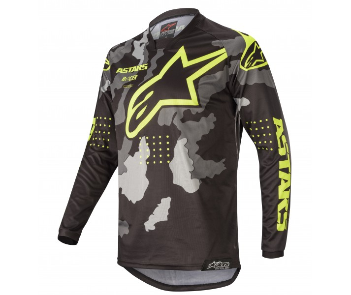 Camiseta Alpinestars Racer Tactical Negro Gray Camo Amarillo Fluo  3761220-1154 