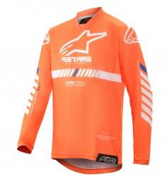 Camiseta Alpinestars Infantil Racer Tech Naranja Fluo Blanco Azul |3770720-447|