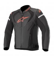 Chaqueta Alpinestars Jaws V3 Leather Negro Rojo Fluor |3101019-1030|